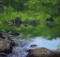 Janet Rayner pastel painting, Chapmans Pond, links to larger image